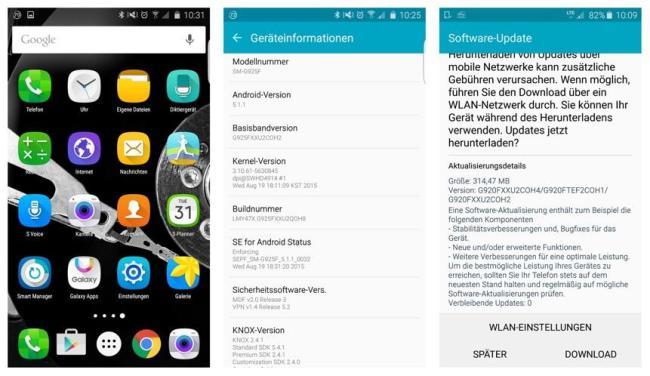 Galaxy S6 Update Screens