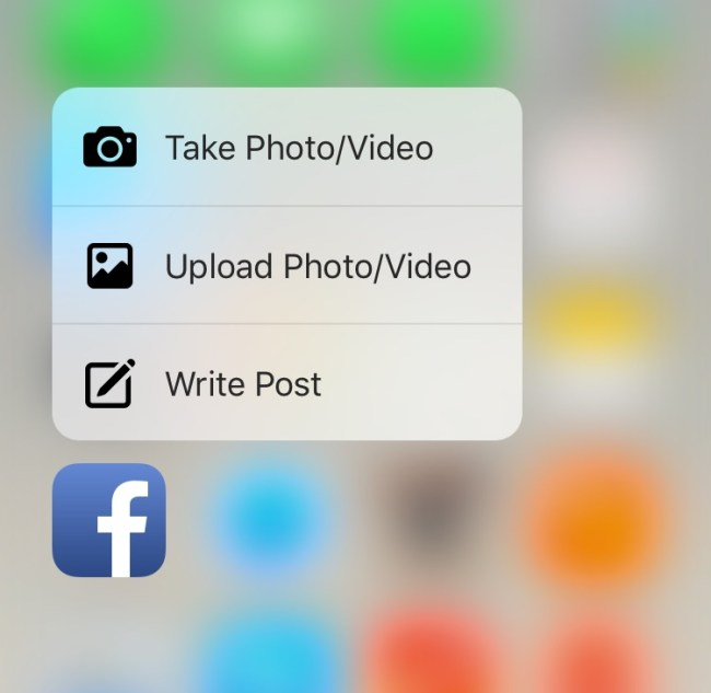 Facebook iPhone 6s 3D Touch Update