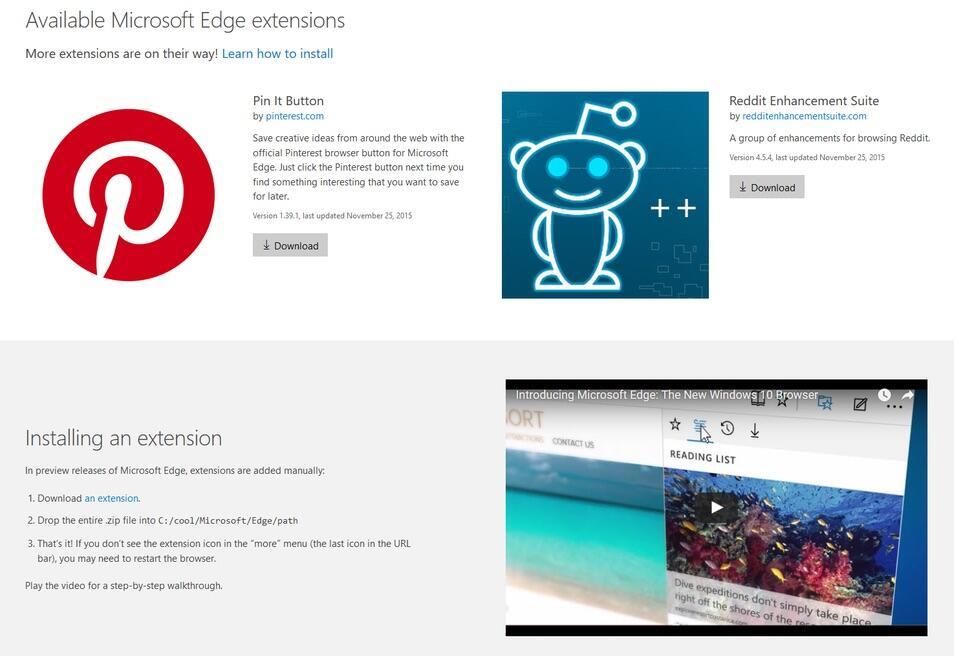 Microsft Edge Extensions