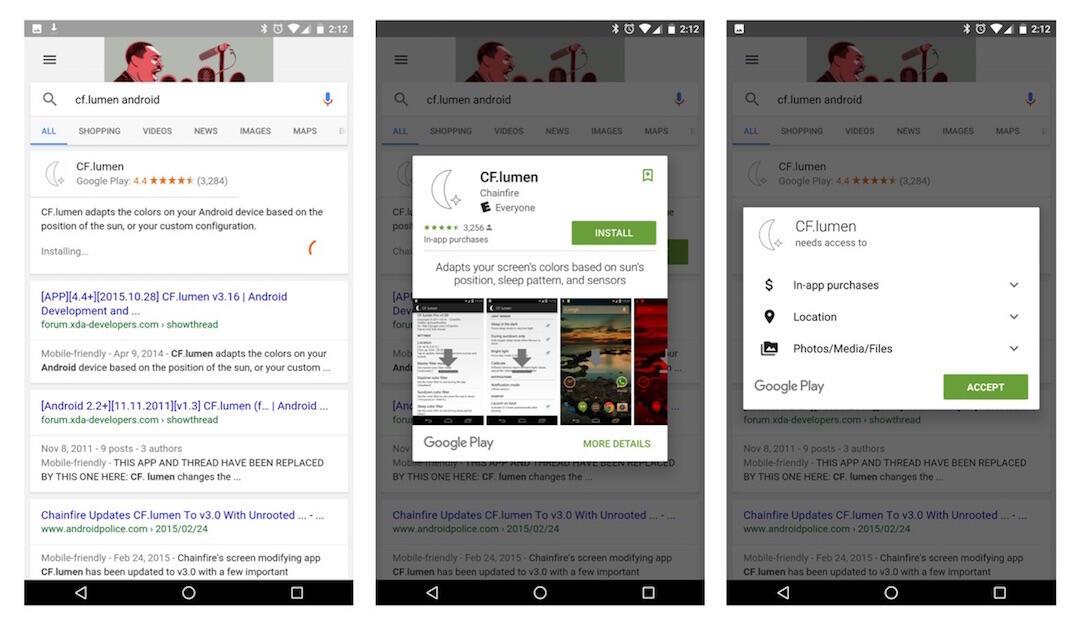 Play Store Suche App Installation