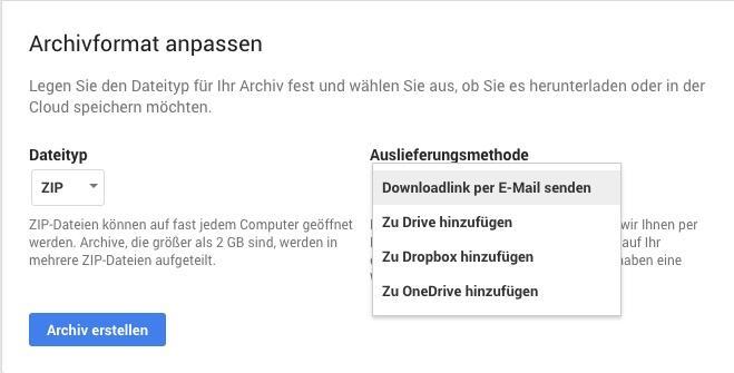 dropbox drive export google