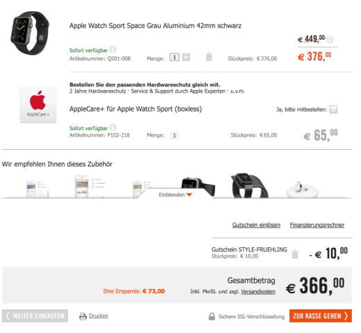 Zwei Rabattaktionen kombinieren- 42mm Apple Watch Sport 366 Euro Cyberport