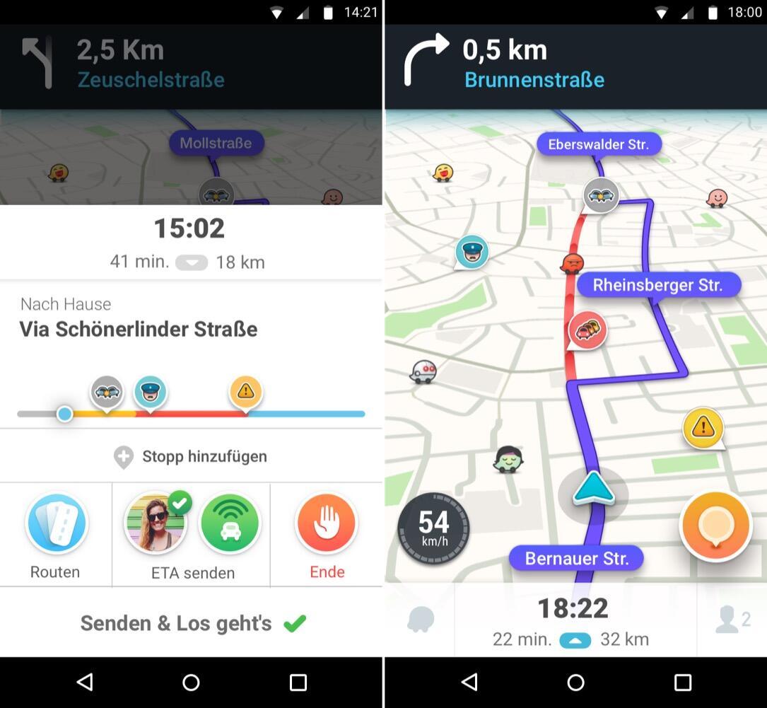 echtzeit navigation waze 4 0 f r android ver ffentlicht. Black Bedroom Furniture Sets. Home Design Ideas