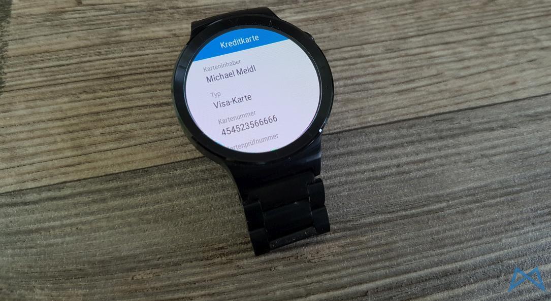 Enpass Anzeige Smartwatch