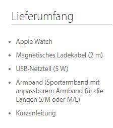 Zum Vergleich: Der Lieferumfang der ersten Apple Watch Sport