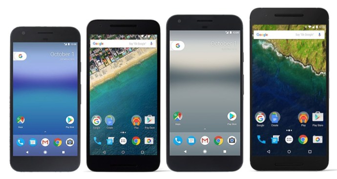 Left-to-right: Pixel (5.0-inch), Nexus 5X (5.2-inch), Pixel XL (5.5-inch), Nexus 6P (5.7-inch). Click to enlarge.