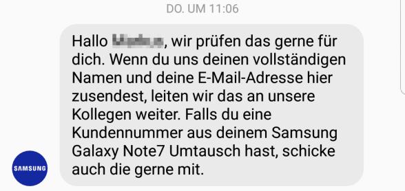 Samsung Support Note 7 Anspruch