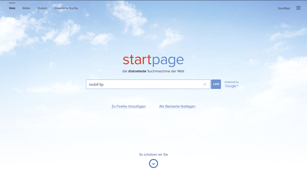 Screenshot Startpage