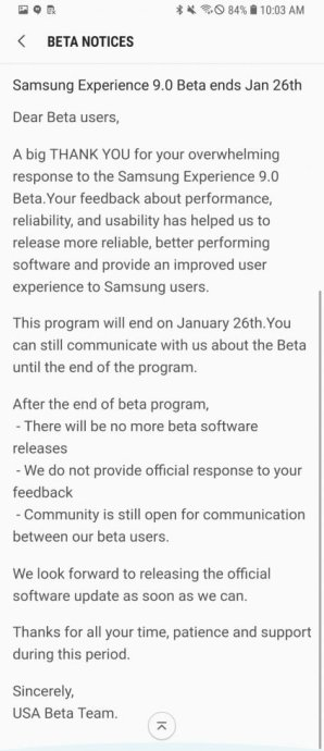 Galaxy S8 Oreo Beta Update End 423x980