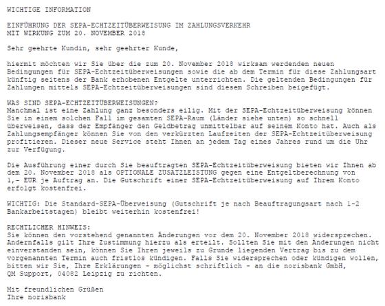 Norisbank Echtzeit Ueberweisung