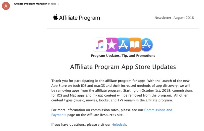 Apple Affiliate Ende Apps