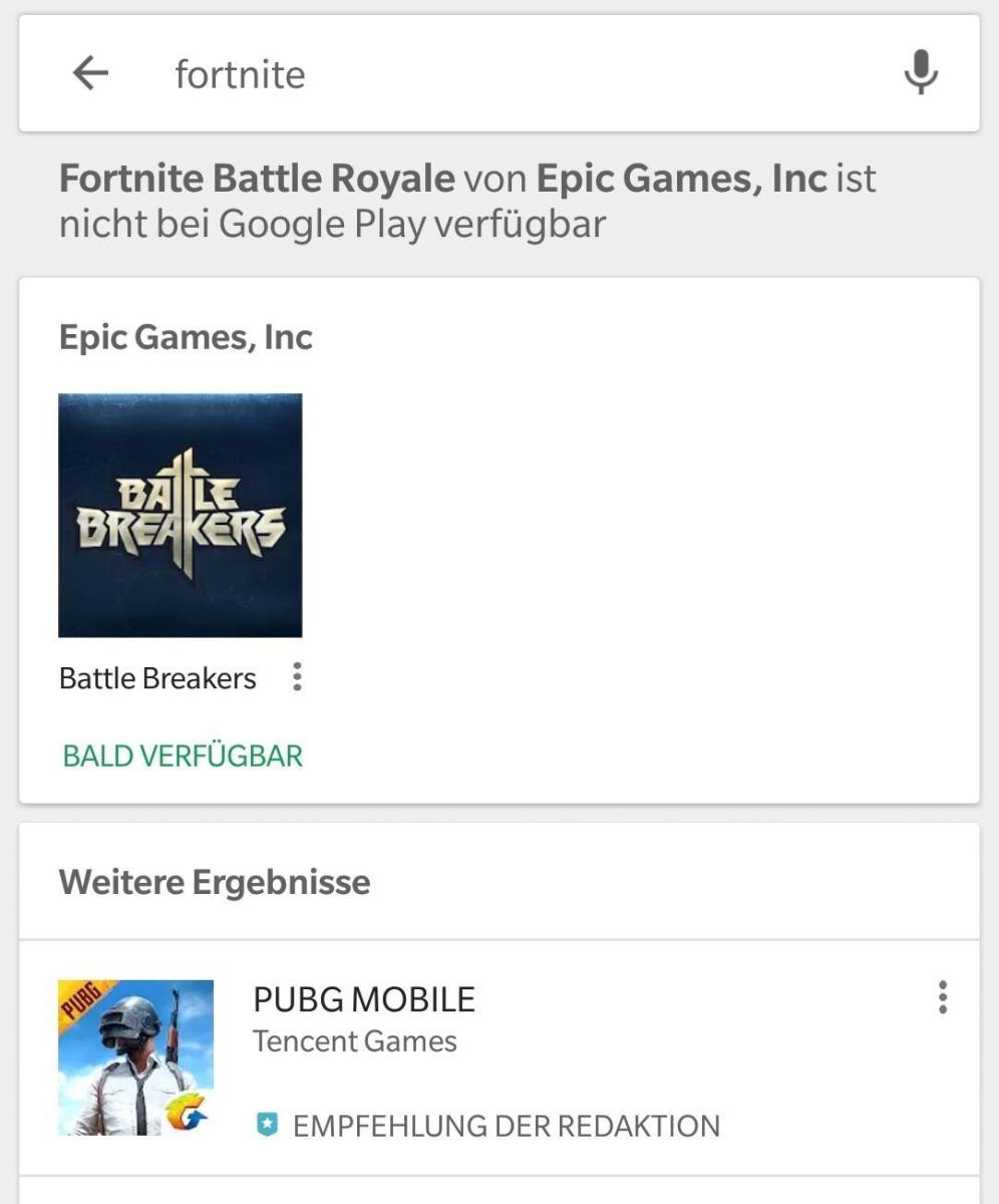 Fortnite Google Play Suche