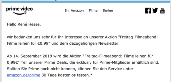 Newsletter Prime Video Filmeabend