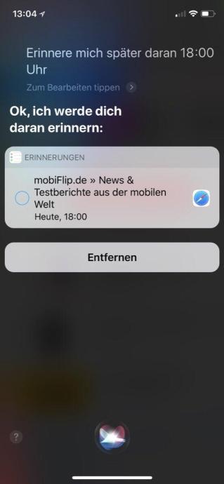 Siri Ios Erinnerung 2