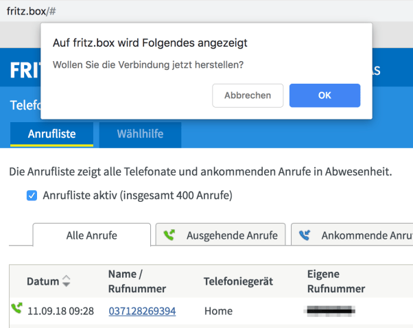 Waehlhilfe Chrome Fritzbox 7