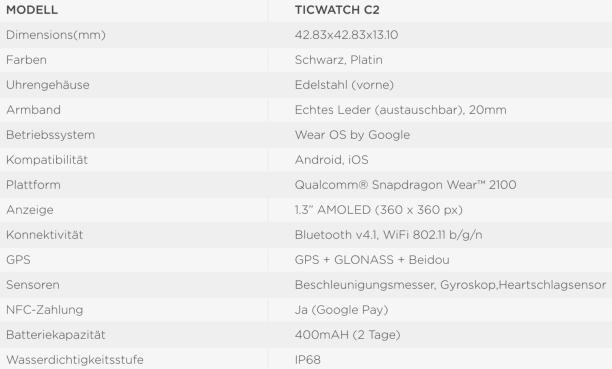 Ticwatch C2 Spezifikationen