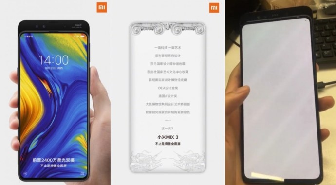 Xiaomi Mi Mix 3 Leaks