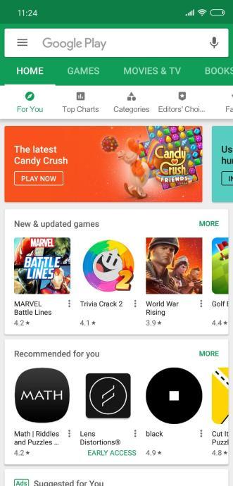 Xiaomi Mi 8 Playstore Notch