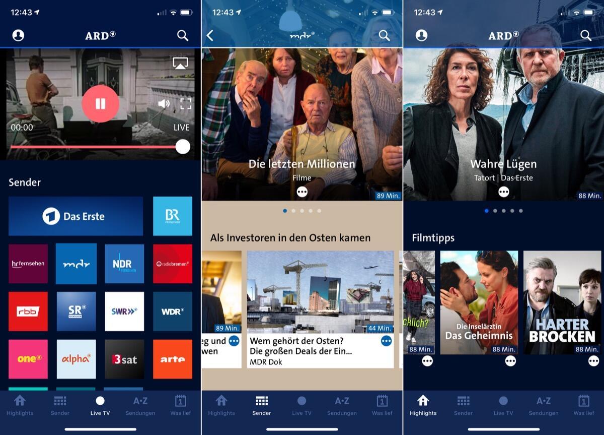ARD Mediathek mit großem App