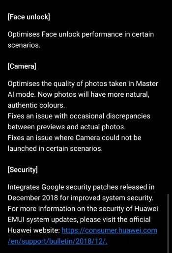 Huawei Mate 20 Pro Update