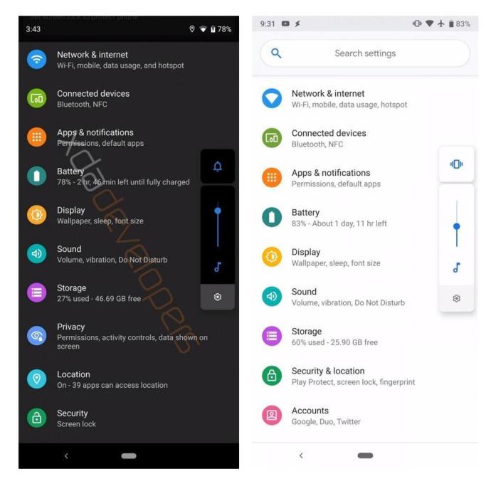 Android Q Dark Mode Vergleich 1