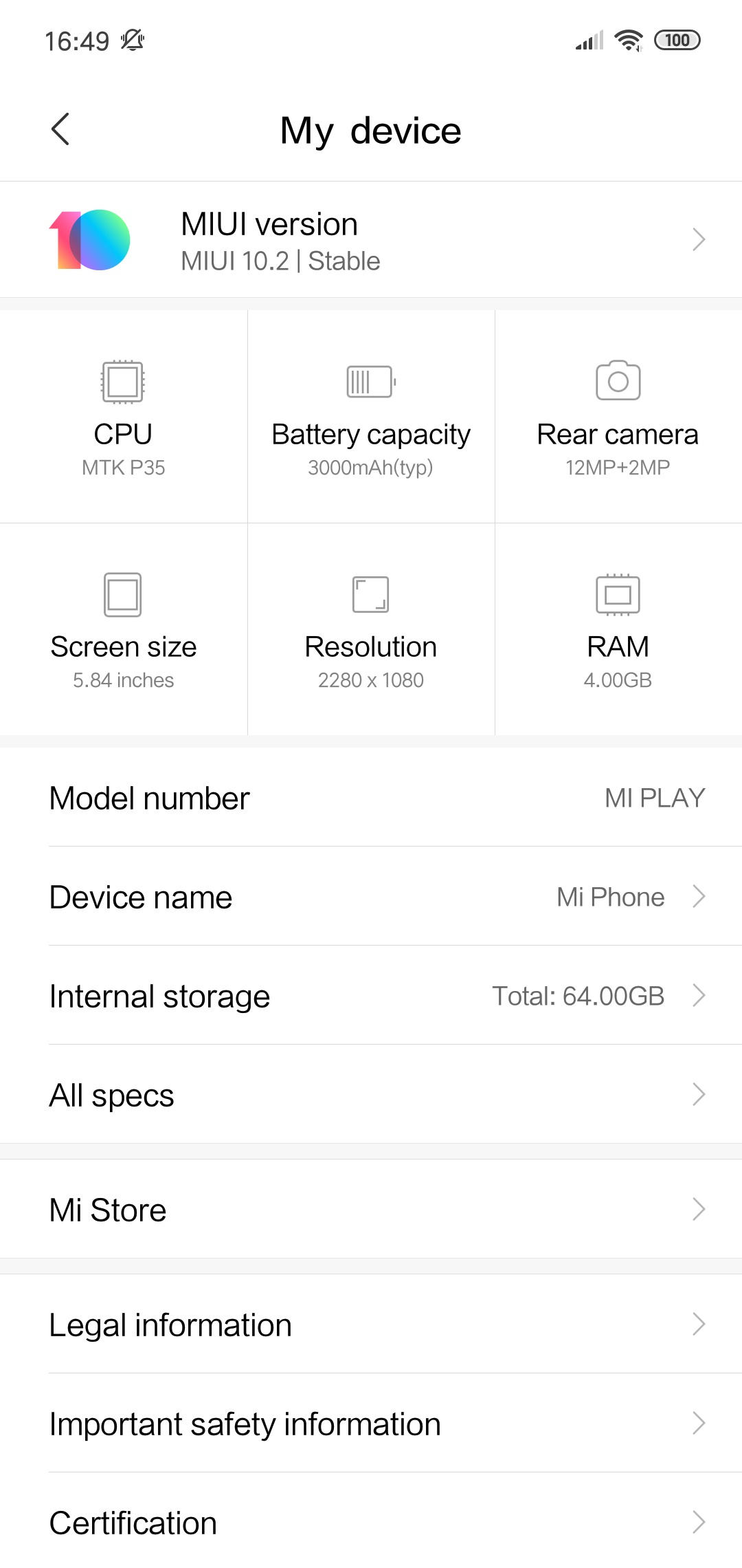 Xiaomi Mi Play Specs