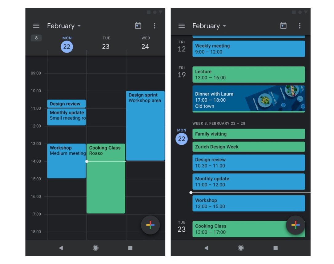 Google Kalender Dark Mode