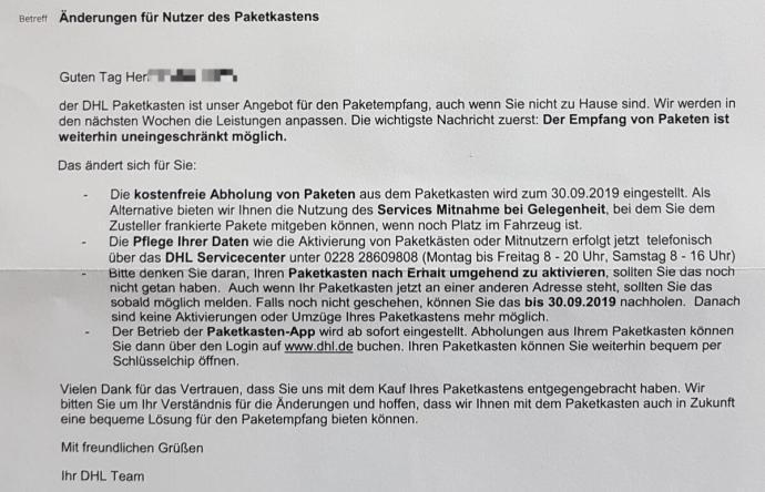 Dhl Paketkasten Anschreiben 2019