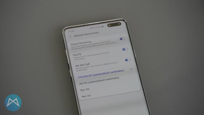 Netzauswahlmenü am Galaxy S10 5G.