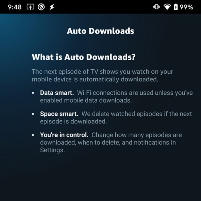 Amazon Prime Video Auto Downloads