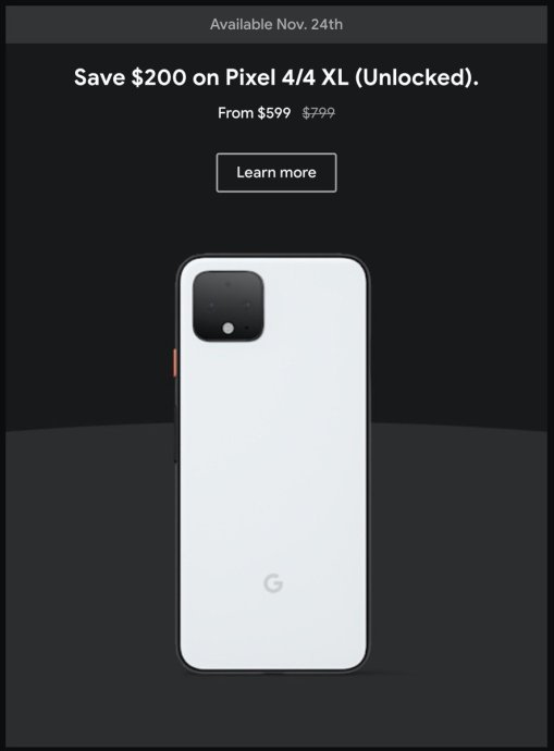 Google Pixel 4 Rabatt Black Friday 2