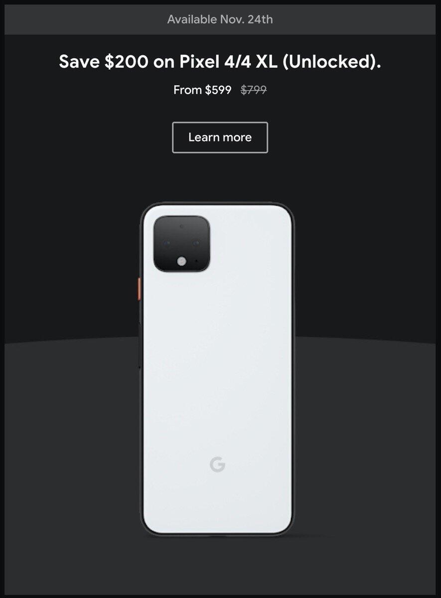 Google Pixel 4 Rabatt Black Friday 2