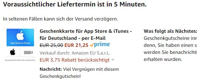 Amazon Itunes Rabatt 15