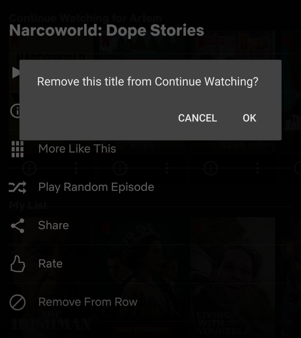 Netflix Inhalt Reihe Entfernen