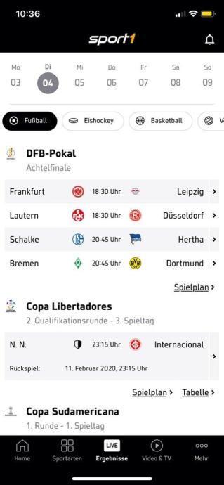 Sport1 App Screen 2