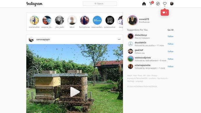 Instagram Weboberfläche