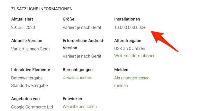 Google Play Dienste 10 Milliarden