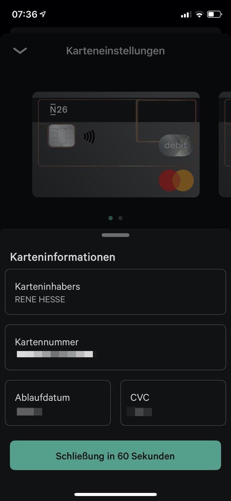 N26 Karten Details App