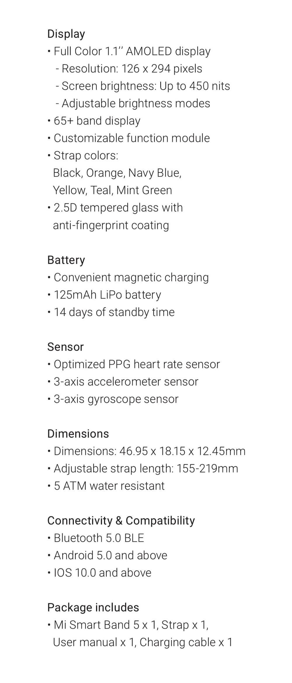 Xiaomi Mi Smart Band 5 Specs