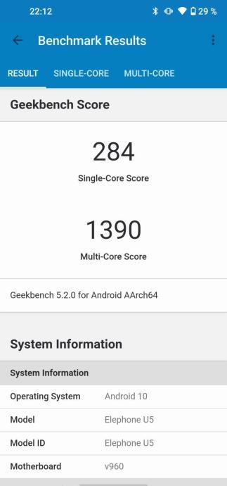 Elephone U5 Geekbench