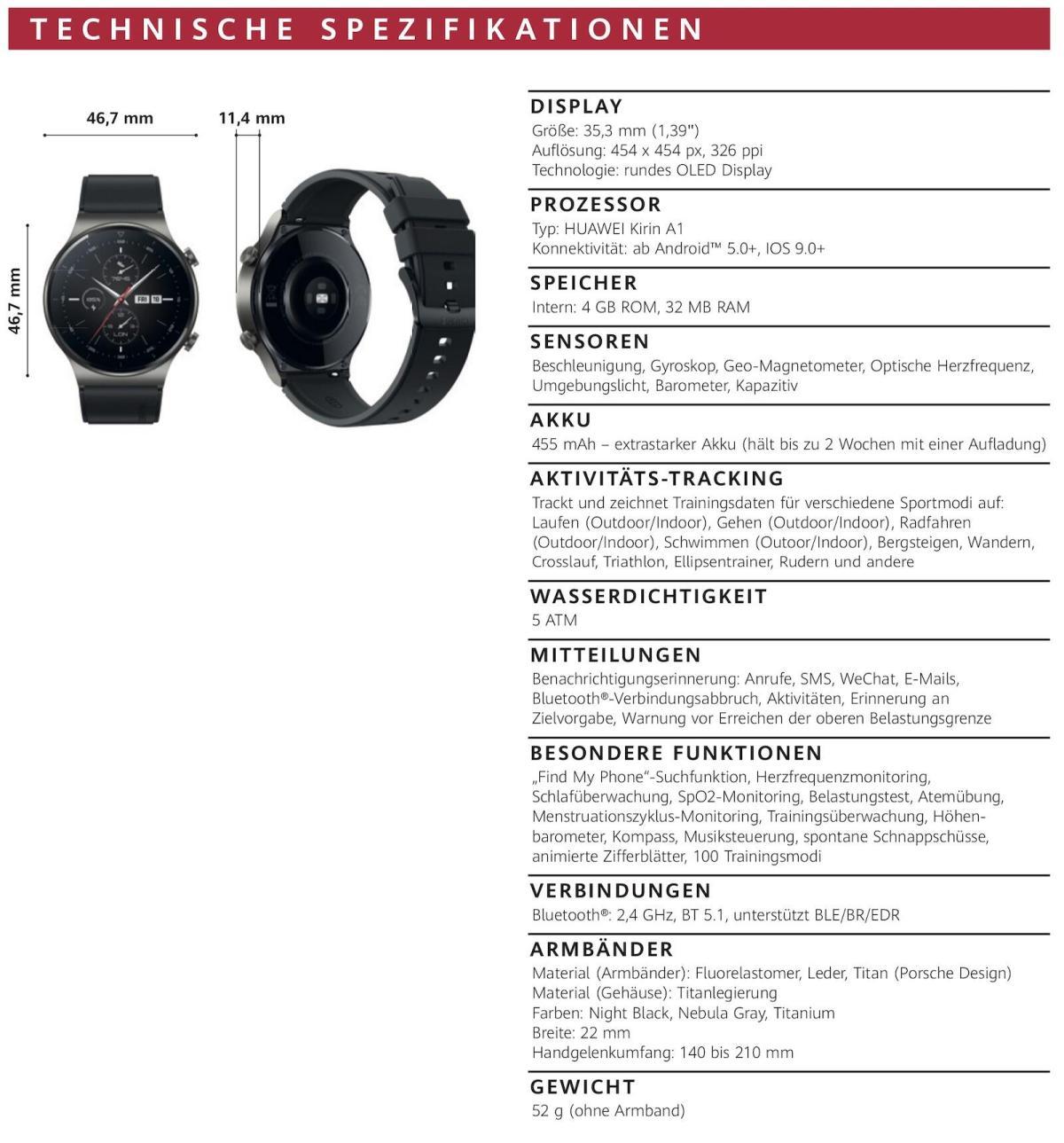 Huawei Watch Gt 2 Pro Specs