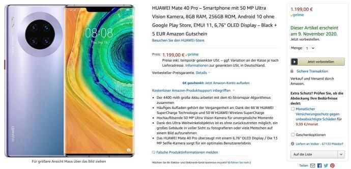 Huawei Mate 40 Pro Amazon