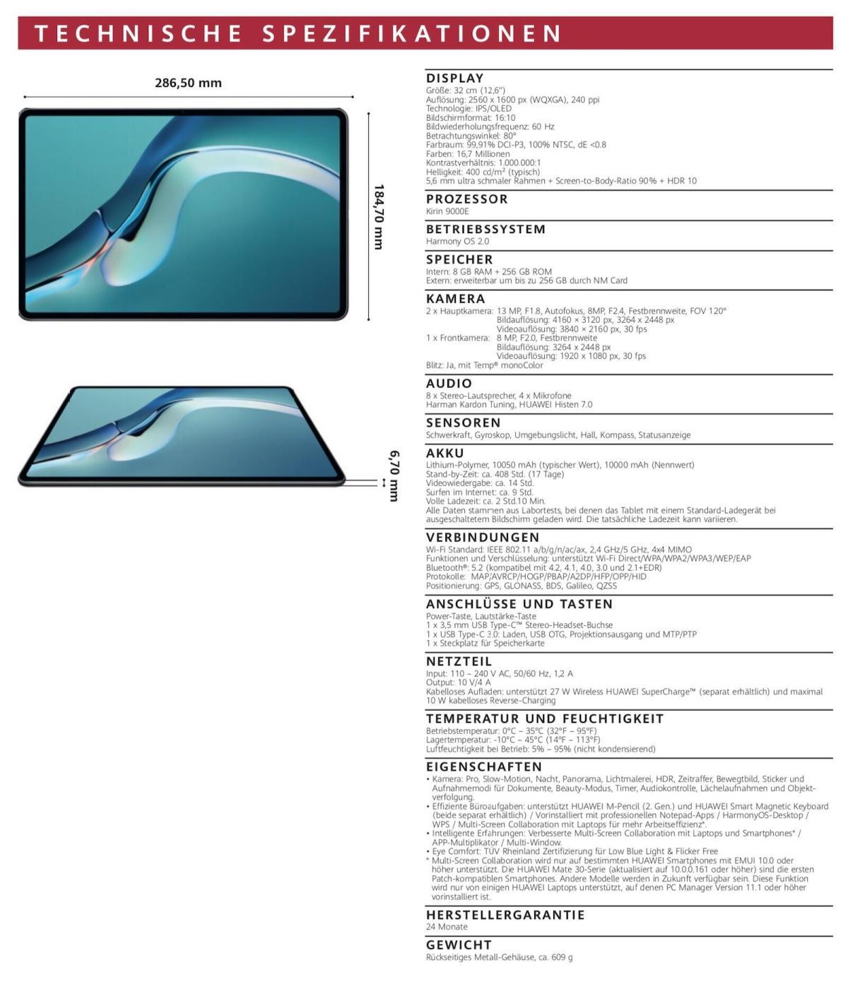 Huawei Matepad Pro Specs