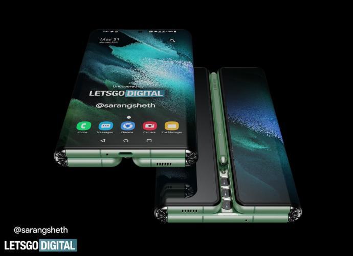 Samsung Galaxy Z Fold Tab Render Front Back