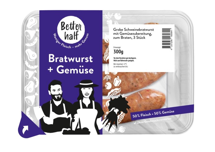 Better Half Grobe Schweinefleischbratwurst Mit 50 Prozent Gemuese In 300g Packung