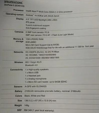 zenfone-c-specs-launch