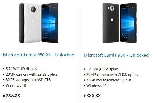 Microsoft-Lumia-950-and-950-XL-UK-Store-listing