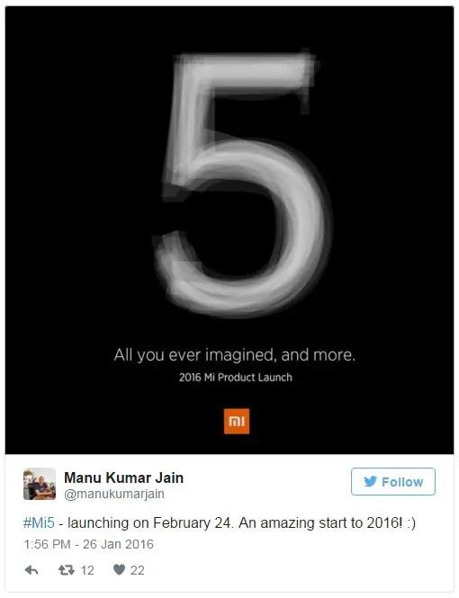 xiaomi-mi-5-cofirmed-unveiling-date-mi-india-head-tweet