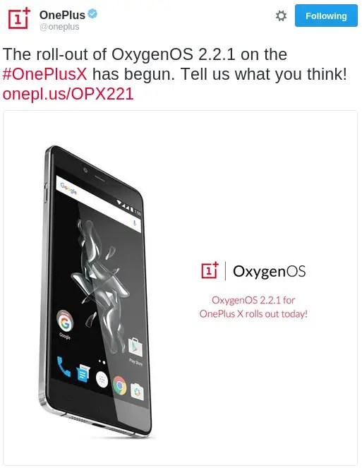 oneplus-x-oxygenos-2-2-1-update-tweet
