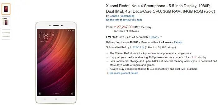 xiaomi-redmi-note-4-gold-amazon-india-listing